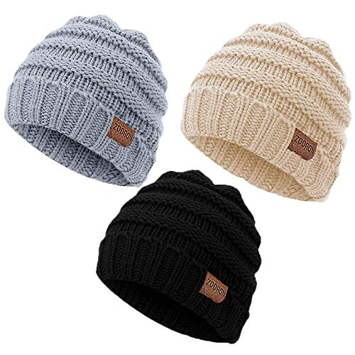 2c728810c0a ZOORON Warm Knitted Winter Baby Kids Hats