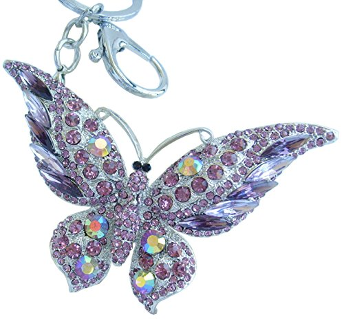 Crystal Butterfly Keychain Favors (Sindary Pretty Butterfly Keychain Pendant Austrian Crystal K4538 (Silver-Tone Purple))