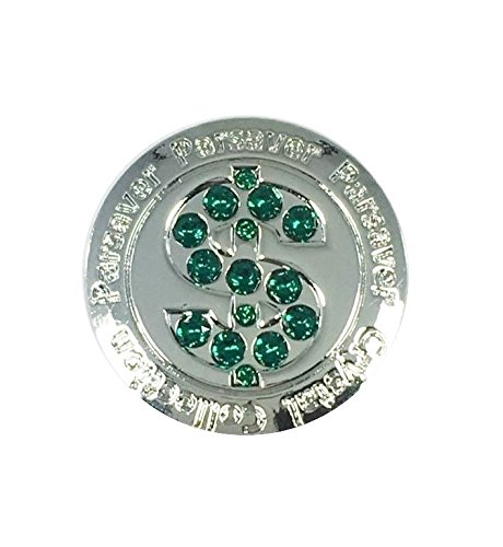 Swarovski Crystal Golf Ball Marker - with Hat Belt Clip - Parsaver Deluxe Dollar $ Design II - Unmatched Brilliance and Sparkle on the greens. A Great Golf Gift idea for Him and Hers