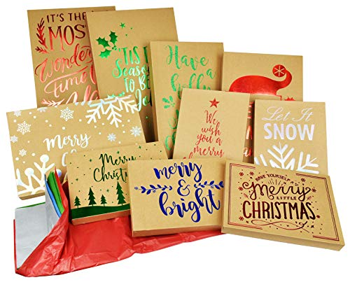 10 Pack Christmas Kraft Gift Boxes and Tissue