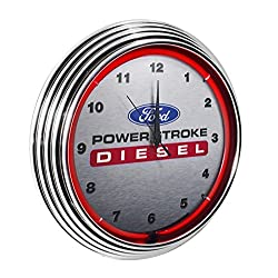 Yates Performance Neonetics Ford Power Stroke Diesel Neon Wall Clock, 15-Inch