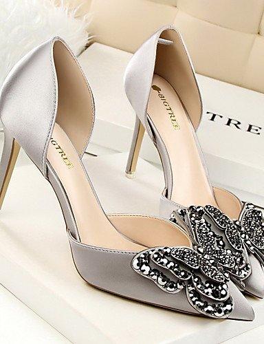 GGX/Damen Schuhe Seide Herbst/Winter Komfort/spitz zulaufender Zehenbereich/geschlossen Zehen Heels Casual Stiletto Heel bowknotblack/grün/ green-us7.5 / eu38 / uk5.5 / cn38