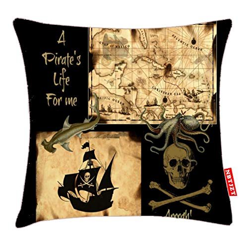 NBTJZT A Pirate's Life for Me Caribbean Treasure Map Pillow Cover Standard Throw Pillowcase 18X18 Inch