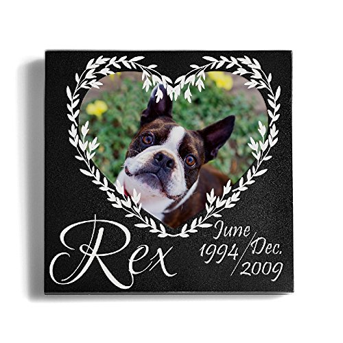 Personalized Memorial Pet Headstone Customized - Heart Frame - 6 x 6 Granite (Personalized Heart Heart Pattern)