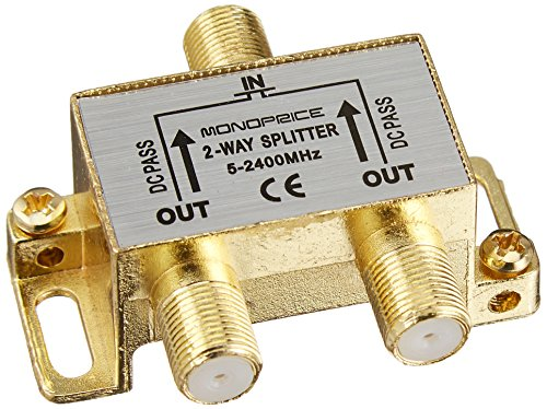 2 Way Video Splitter (Monoprice 110013 PREMIUM 2-Way Coax Cable Splitter F-Type Screw for Video VCR Cable TV Antenna)