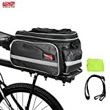 Arltb Bike Rear Bag (3 Colors) 20 - 35L Waterproof Bicycle Trunk Bag with Rain Cover Shoulder Strap Bike Pannier Tail Back Seat Bag Package Handbag Bike Accessories for Road Bikes Mountain (Black-)