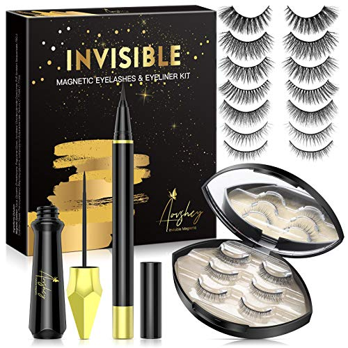 [Upgraded] AOVSHEY Invisible Magnetic Eyelashes with Eyeliner Kit,7 Pairs Reusable Magnetic Lashes,Magnetic Eyeliner and…