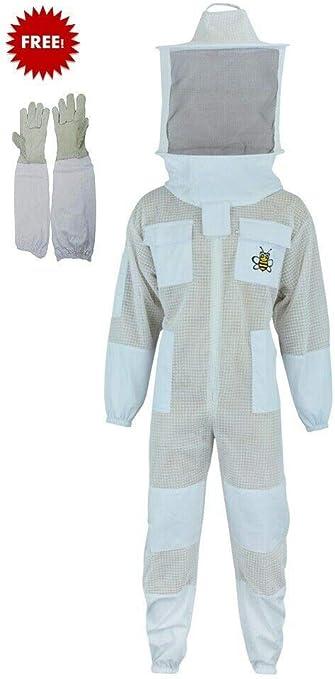 Bee Jacket 3 Layer Safety Unisex White Fabric Mesh Beekeeping Jacket Beekeeping Fencing Veil Protective Clothing Beekeeping Clothing Beekeeping Protective Clothing Ventilated Bee-3XL