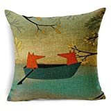Decorative Pillow Cover - Lee's Int'l Red Fox Thick Cotton Linen Throw Pillow Cover