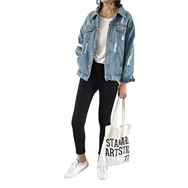 a5c74d02e10 Image Unavailable. Image not available for. Color  Saborz Women s Denim  Jacket Jeans Coat Loose Casual Style Basic Top Outerwear