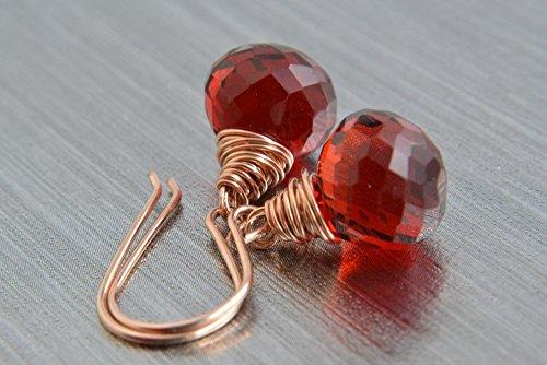 Red Quartz Earrings - Red Quartz Earrings, 14K Rose Gold Filled