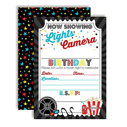 Movie Night Birthday Party Invitations for Boys, 20 5