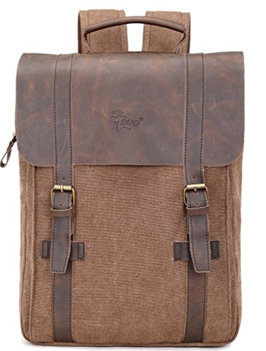 CHADA Casual Canvas Leather Backpack Travel School Camping Rucksack Computer Laptop Bag Brown