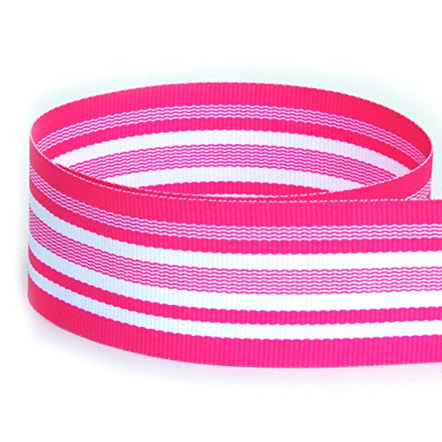 """USA Made 3/8"""" Neon Pink Waves Striped Grosgrain Ribbon (Hot Pink & White Ribbon) - 20 Yards (Multiple Widths & Yardages -"""