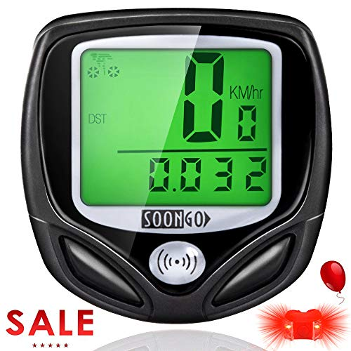 SOON GO Bike Speedometer, Bicycle Speedometer Wireless Bike Computer Waterproof Bike Odometer Speedometer Accurate Speed Tracking & Multi-Function with Cycling Taillight ()