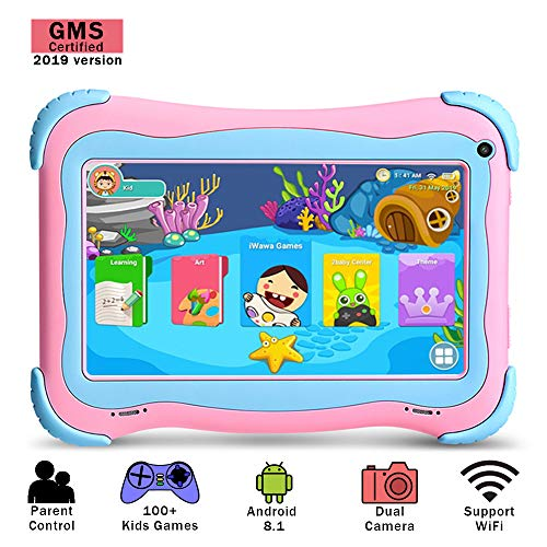 YUNTAB Kids 7 inch Tablet - 2019 Upgrade, Android 8.1 OS, Pre-Installed Kids Games, 1GB RAM 16 GB ROM, Premium Parent Control, GMS Certified, A50 Cortex-A7 Quad Core CPU, Protecting Angles (Q91 Pink)