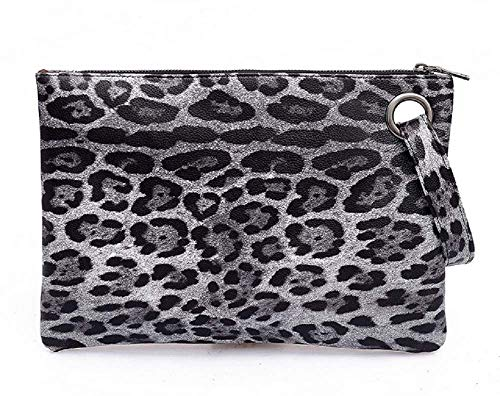 Dolce Na Womens Oversized Clutch Bag Purse Pu Leather Evening Wristlet Handbag (79 Grey Leopard) ()