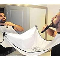 Yuchei Shaving Grooming Apron Beard Care Trimmer Hair Shave Apron Beard Trimming Catcher for Man Or Household Cleaning Protections (White)