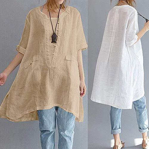 Col Rond Unie Grande Chic Manches Courtes Asymtrique Costume Blanc Chemise Femme Bouffant Couleur Et Mode Haut Blouse Lin Loisir Tunique Longues Taille Elgante Tops Pnqp7