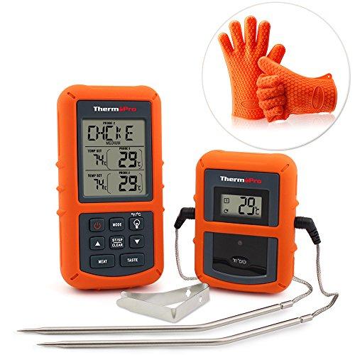ThermoPro TP20 Digital BBQ Thermometer Wireless mit 2 Temperaturfühlern für BBQ, Ofen und Grills