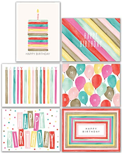 Watercolor Bulk Birthday Cards Assortment - 48pc Bulk Happy Birthday Card with Envelopes Box Set - Assorted Blank Birthday Cards for Women, Men, and Kids in a Boxed Card ()