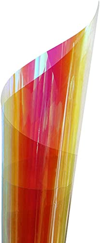 HOHOFILM Holographic Rainbow Color Window Film Self-Adhesive Iridescent Window Glass Tint Blaze Film Craft Vinyl for Christmas Home Building Decoration,54in33ft