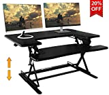 SITA Office 3625'' Standing Desk Preassembled Height Adjustable Sit Stand Up Desk Riser Stand Fit Two Monitors Adjustable Standing Desk Converter Topper Black