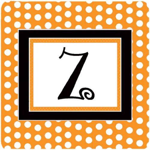 Initial Letter Z Set of 4 Carolines Treasures CJ1033-ZFC Monogram-Orange Polkadots Foam Coasters 3.5 H x 3.5 W Multicolor
