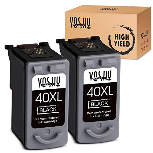 Voshy PG-40 Remanufactured Ink Cartridges Replacement for Canon PG-40XL PG40 XL Compatible with Pixma MP160 MP470 MX310 IP2600 MP210 MP460 IP1600 IP1700 IP1800 MX300 MP450 MP150 MP180 Printer, 2-Black (0615b002 Pg 40 Black Ink)