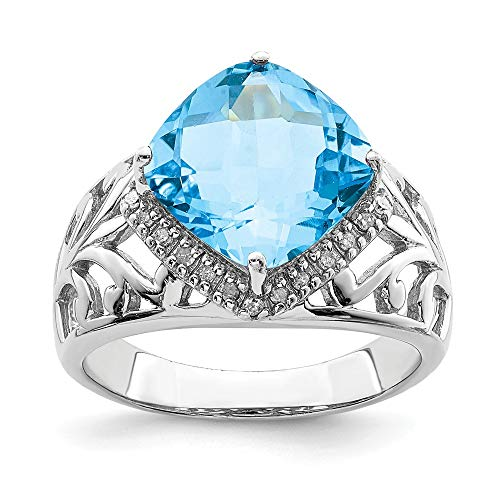 Diamond Bow Cushion Ring Cut (Light Blue Topaz and .12 Ctw (H-I, I2-I3) Diamond Ring in Sterling Silver Size 7)