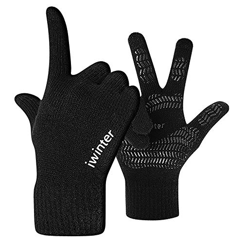 Ninge Winter Knit Gloves Cold Weather Gloves for Women Men - Knit Touch Screen Anti-Slip Silicone Gel - Stretchy Material - 2 Size Choice
