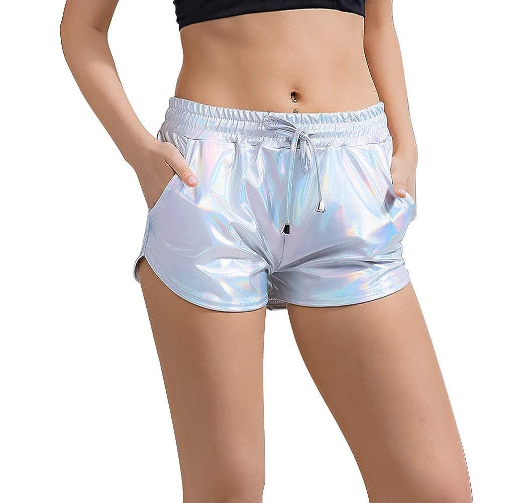 Metallic Shorts Yoga Hot Shiny With Elastic Drawstring Pants for Women Laser Color M