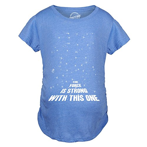 Maternity Force is Strong Funny Pregnancy T-Shirt for Expecting Mothers (Heather Light Blue) - M -