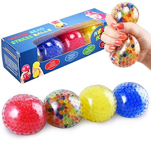KELZ KIDZ Durable Large Squishy Water Bead Stress Balls (4 Pack) - - Great For Kids Sensory Toys
