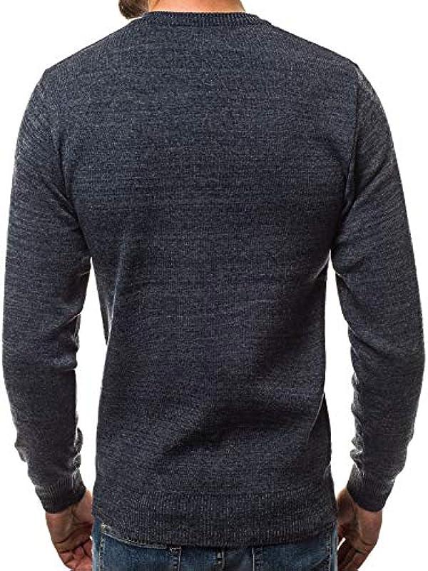 MOODOZ męski sweter z dzianiny nowoczesny podkreślający figurę koszulka z długim rękawem ciepła podstawowa kurtka z dzianiny sweter na co dzień HR/01838: Odzież