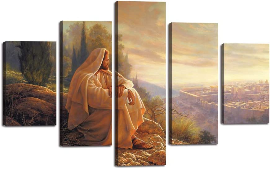 """Yatsen Bridge Jesus Wall Art Picture Decor 5 Panel Vintage Christian Faith Canvas Prints Poster Jesus Thorn Painting for Living Room Home Decoration Stretched Ready to Hang (60""""Wx40""""H)"""