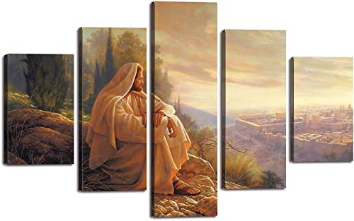 Yatsen Bridge Jesus Wall Art Picture Decor 5 Panel Vintage Christian Faith Canvas Prints Poster Jesus Thorn Painting