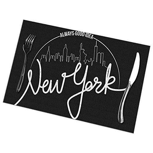 Juego de manteles individuales de 6 para mesa de comedor; Vacaciones Manteles Nueva York Brooklyn Ciudad Edificios Rascacielos Estatua de Negro Bl