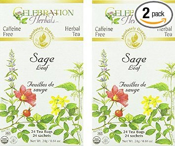 Celebration Herbals Organic Sage Leaf Caffeine Free -- 48 Herbal Tea Bags