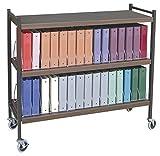 Extra Wide Vertical Open Chart Rack 3 Shelves 30 Binder Capacity (Woodgrain)