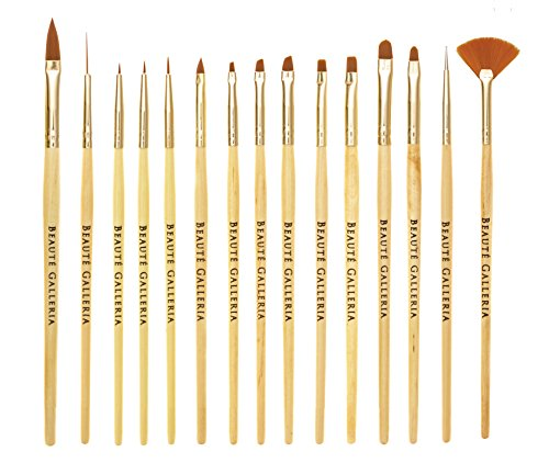 Beaute Galleria 15pcs Nail Brush Set for Detailing, Striping, Blending, One-Stroke Nail Art with Gel Brushes, Painting Brushes, 3D Brush, Dotting Tool, Fan Brush and Liner