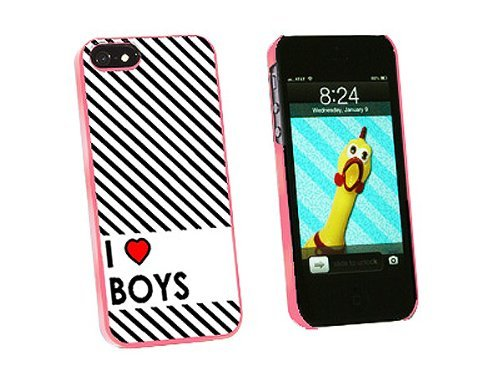 Graphics and More I Love Heart Boys Snap-On Hard Protective Case for iPhone 5/5s - Non-Retail Packaging - Pink