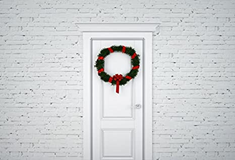 yeele 10x8ft christmas wreath hanging on front door background for photography holly branch white paint brick