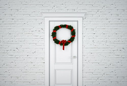 Yeele 10x8ft Christmas Wreath Hanging On Front Door Background for Photography Holly Branch White Paint Brick Wall Backdrop Xmas Party Kid Adult Family Portrait Shooting Photo Booth Props