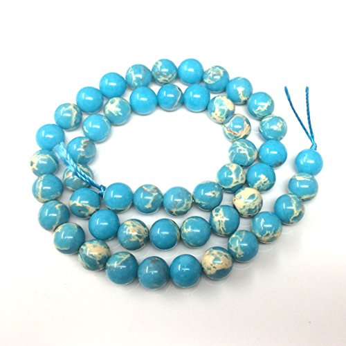 Top Quality Natural Turquoise Blue Sea Sediment Jasper Gemstone Loose Beads 8mm Round Loose Beads 15.5