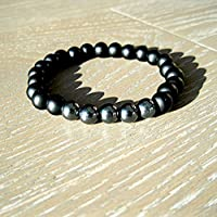 Custom Black Onyx and Hematite Beaded Stretch Bracelet for men