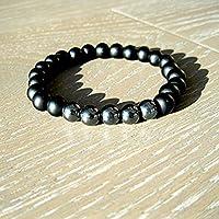 Custom Black Onyx and Hematite Beaded Stretch Bracelet for men