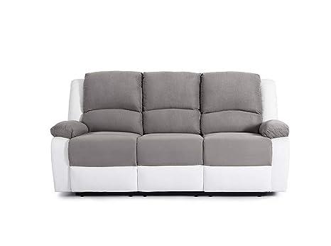 Sofá de relajación de cuero sintético y tela, 3 plazas - 190 ...