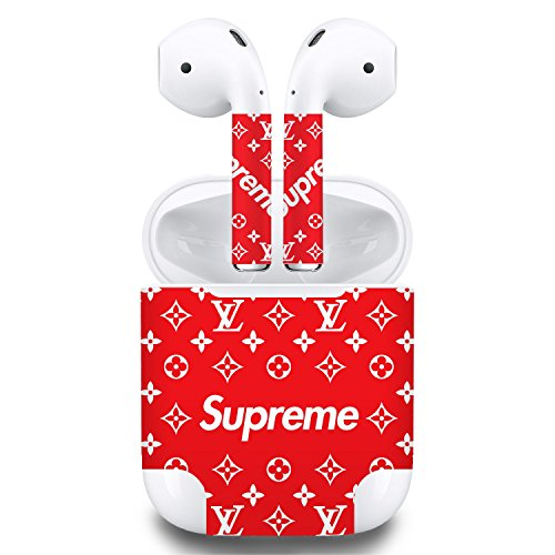 Premium Vinyl Skin Sticker Compatible with Apple Airpods (Red)