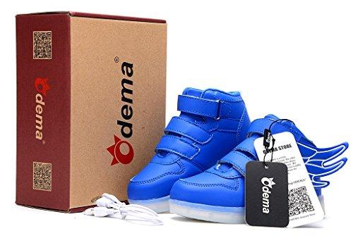 Odema Zapatos de luz LED de cana alta con alas unisex para nino Azul